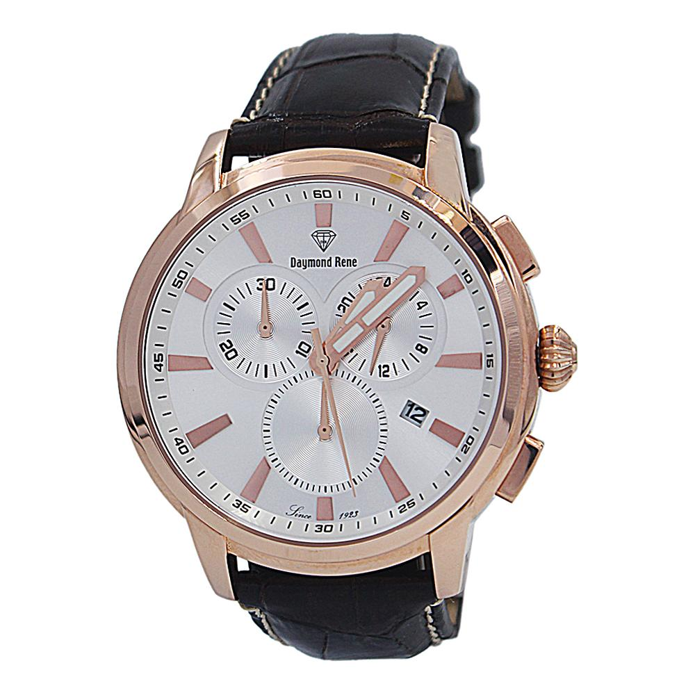 Coffee Rose Gold Leather Chronograph Watch