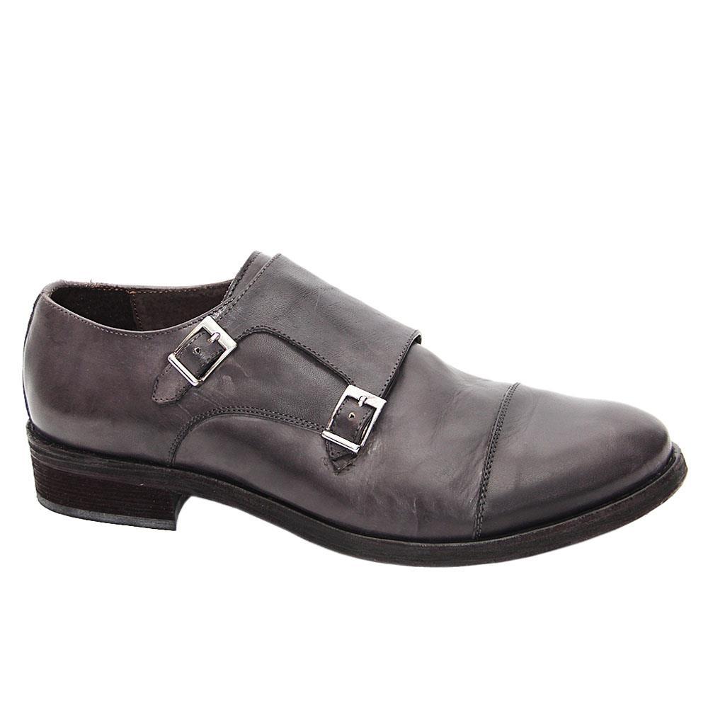 Gray Alan Leather Men Monk Strap Shoes