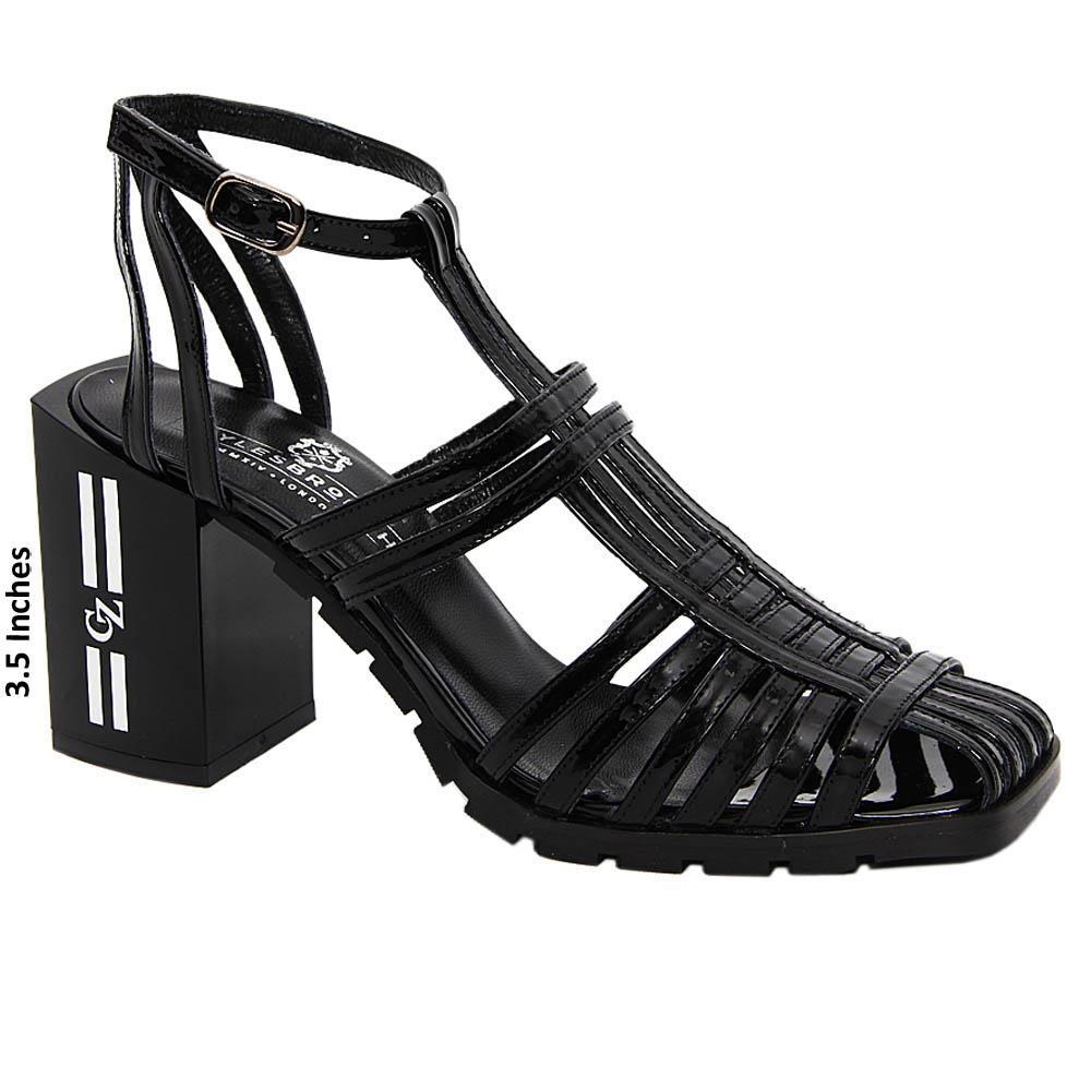 Black Paula Patent Italian Leather Block Heel Sandals
