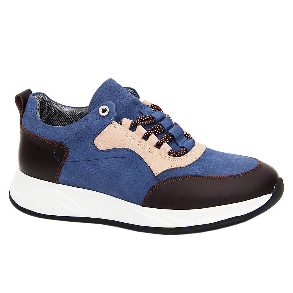 Blue Coffee Aurelio Italian Leather Sneakers