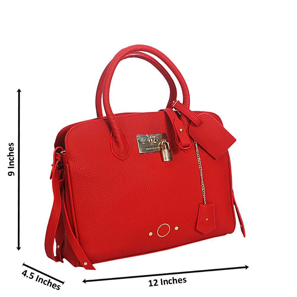 Red Luisa Alda Leather Tote Handbag