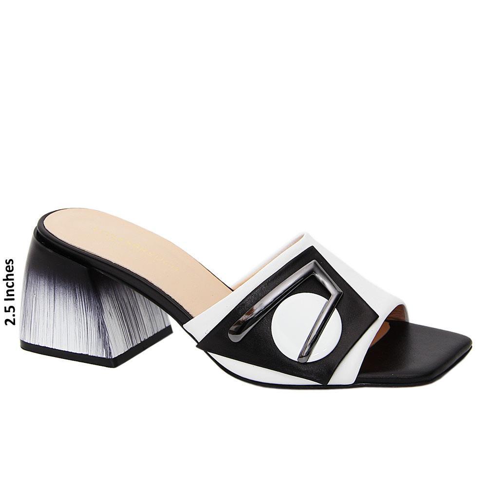 White Black Electra Tuscany Leather Mid Heel Mule