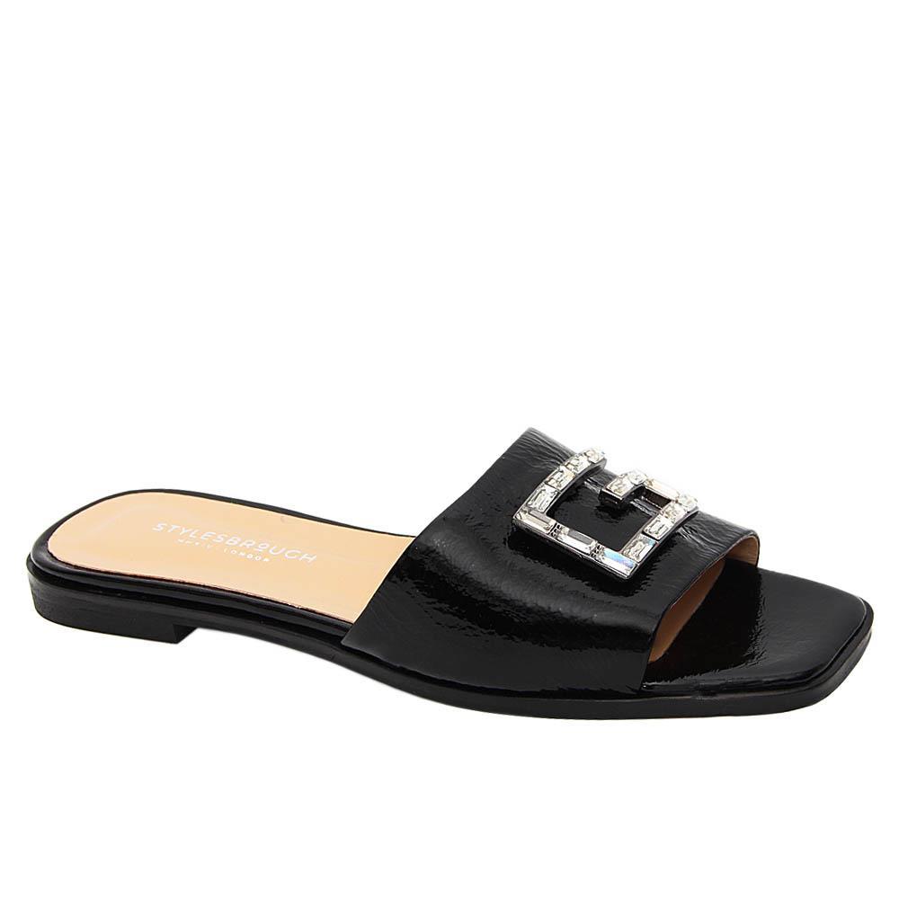 Black Alexa G Crystals Tuscany Leather Women Slippers