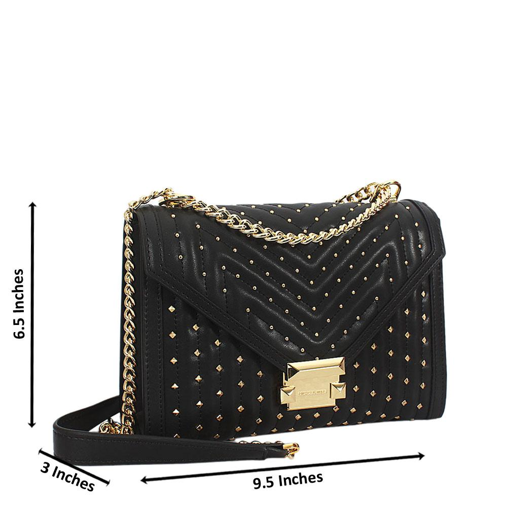 Black Gold Studded Leather Chain Crossbody Handbag