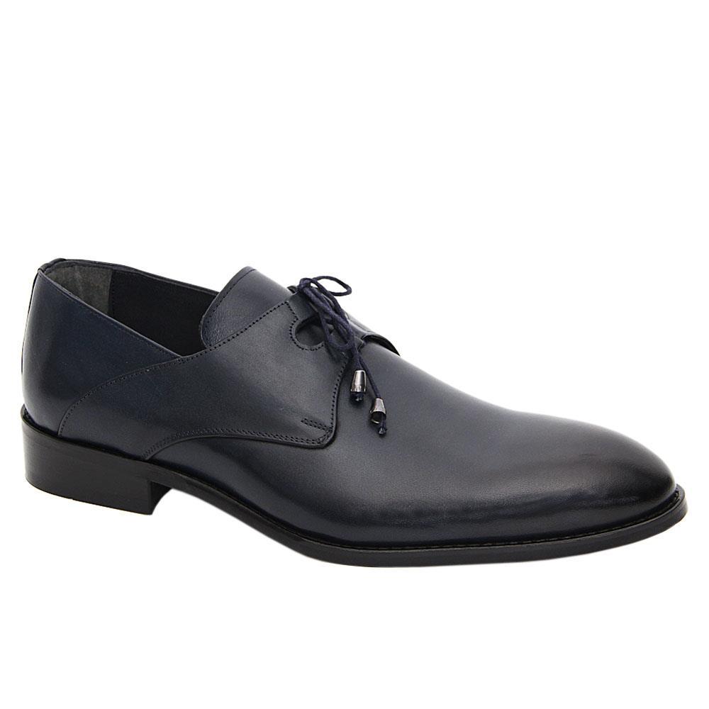Dark Navy Evan Leather Men Derby Shoes