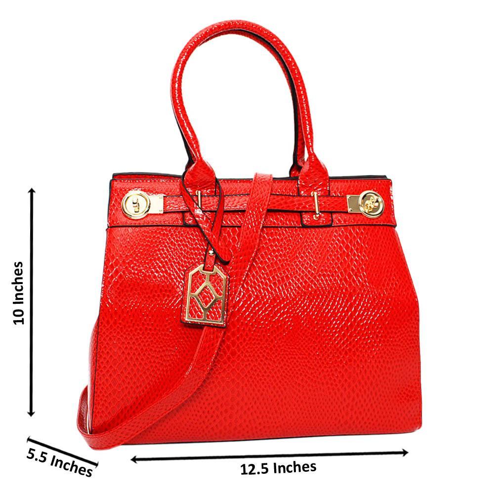 Red Tara Star Leather Medium Tote Handbag