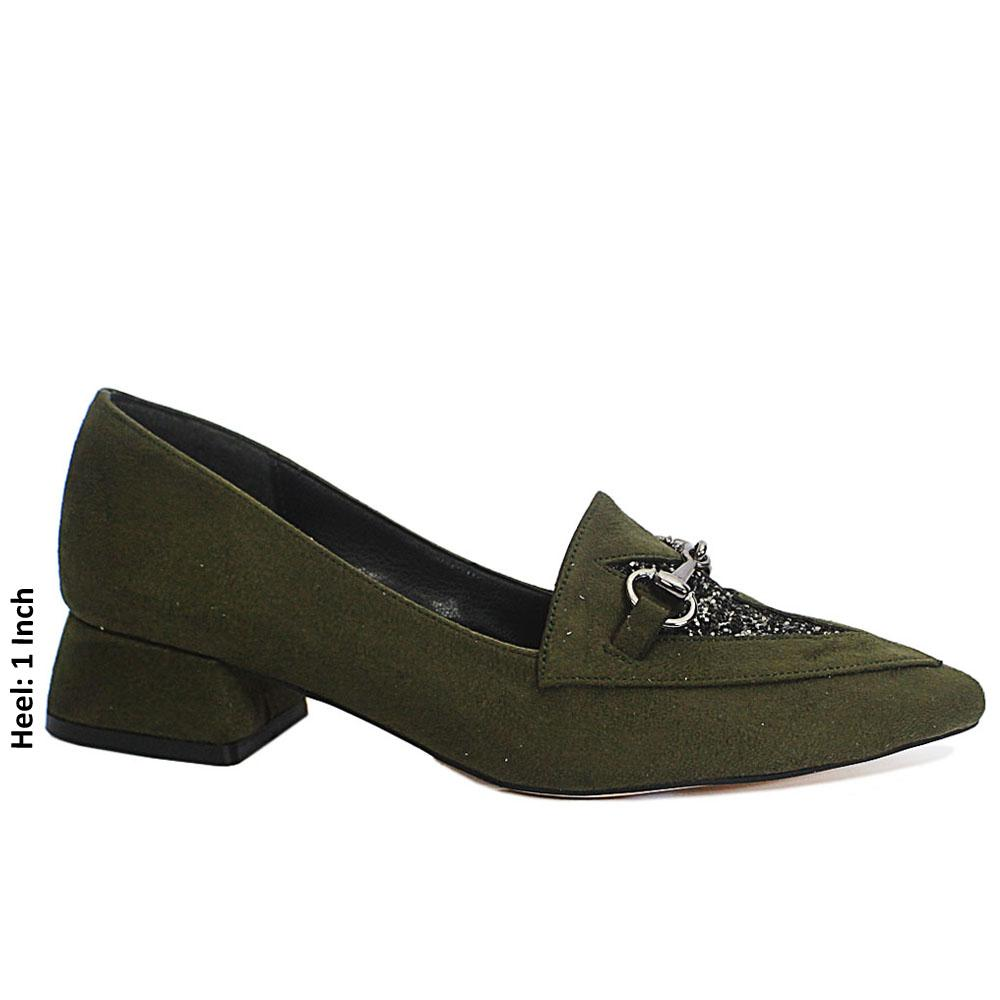 Green Suede Leather Low Heel