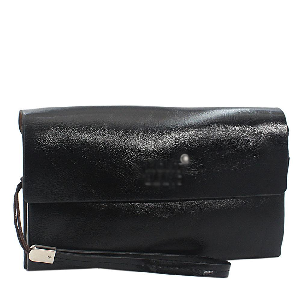 Black Smooth Shiny Leather 2 way Man Wristlet Purse