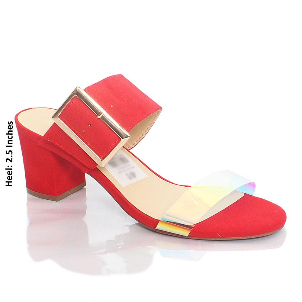 Red Gasha Reflective Rubber Suede Leather Mule