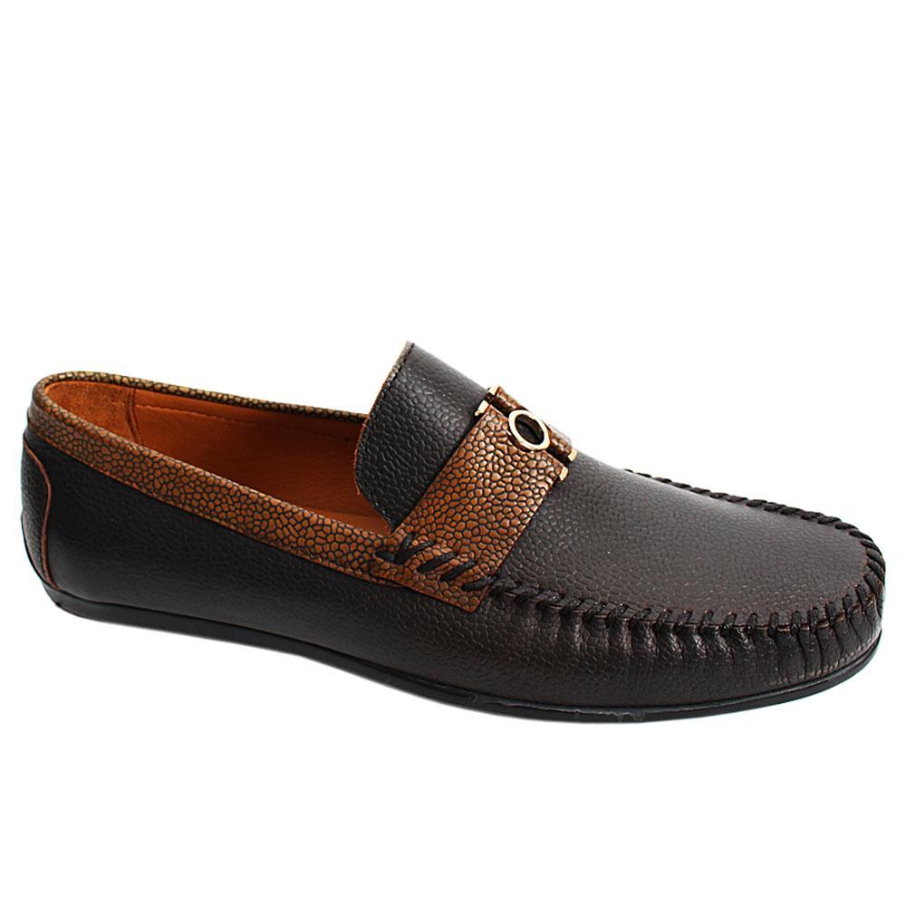 Coffee Brown Mix Italian Leather Men Drivers Shoe
