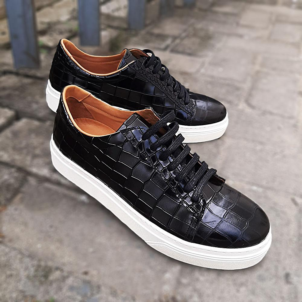 Black Agata Croc Italian Leather Sneakers