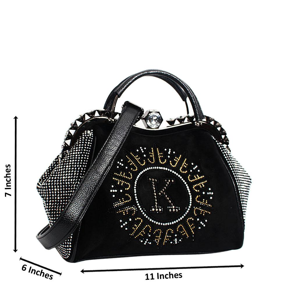 Black Avena Crystals Studded Suede Leather Small Tote Handbag