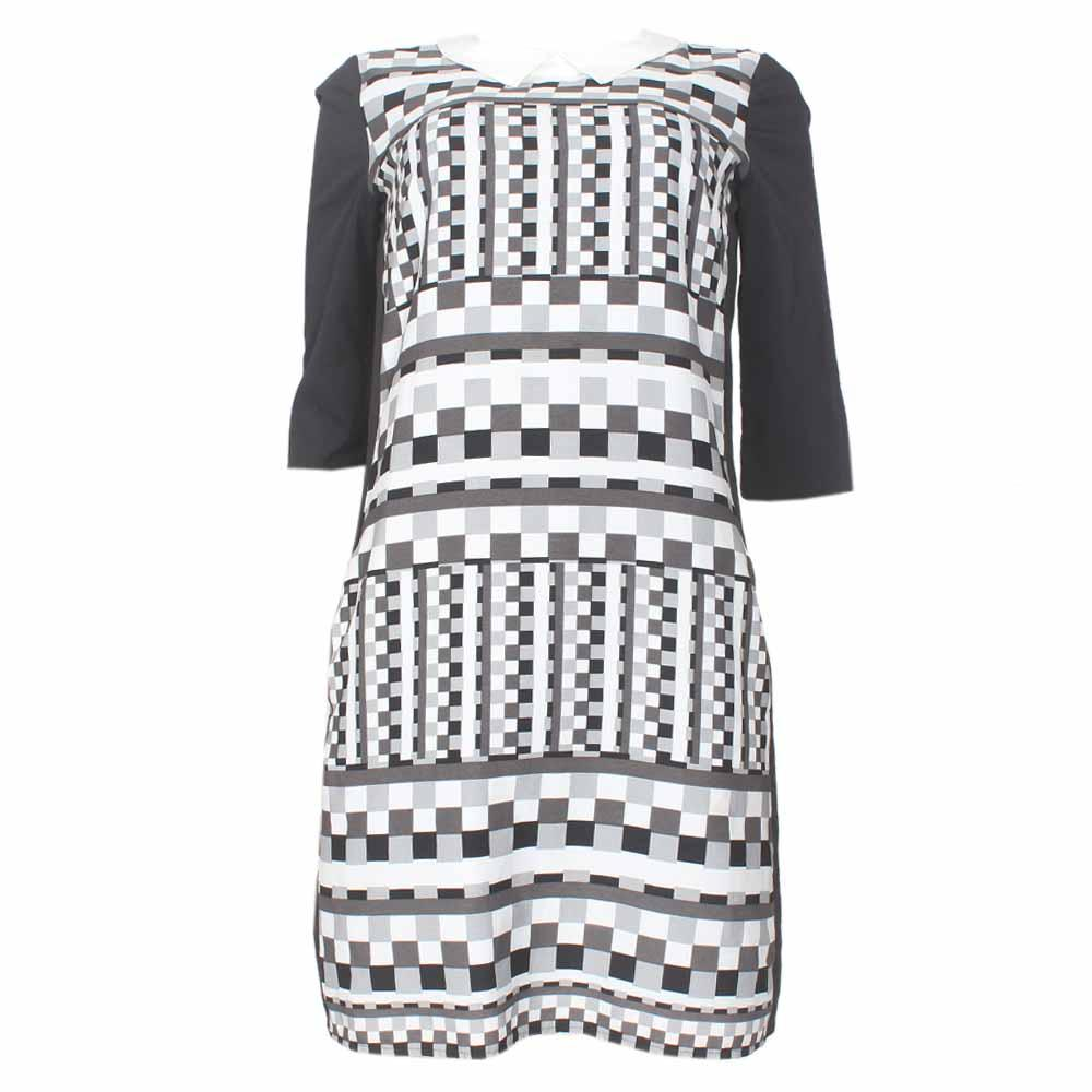 Limited Collection Black-White Peter Pan Neck Ladies Dress-Uk 16