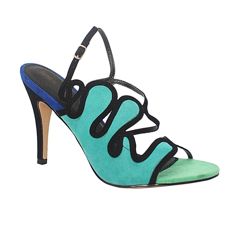 Green Multicolor Liliana Suede Leather Heel