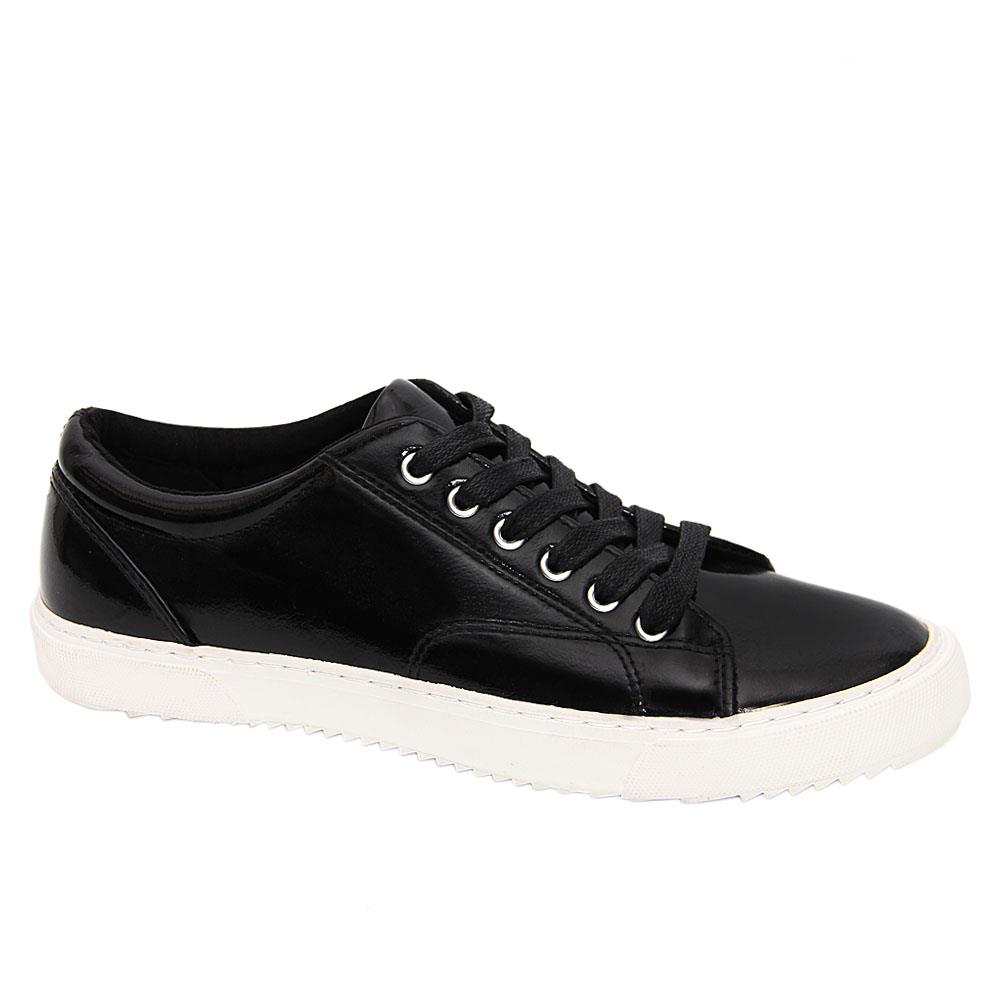 Black Kylie Patent Leather Women Sneakers