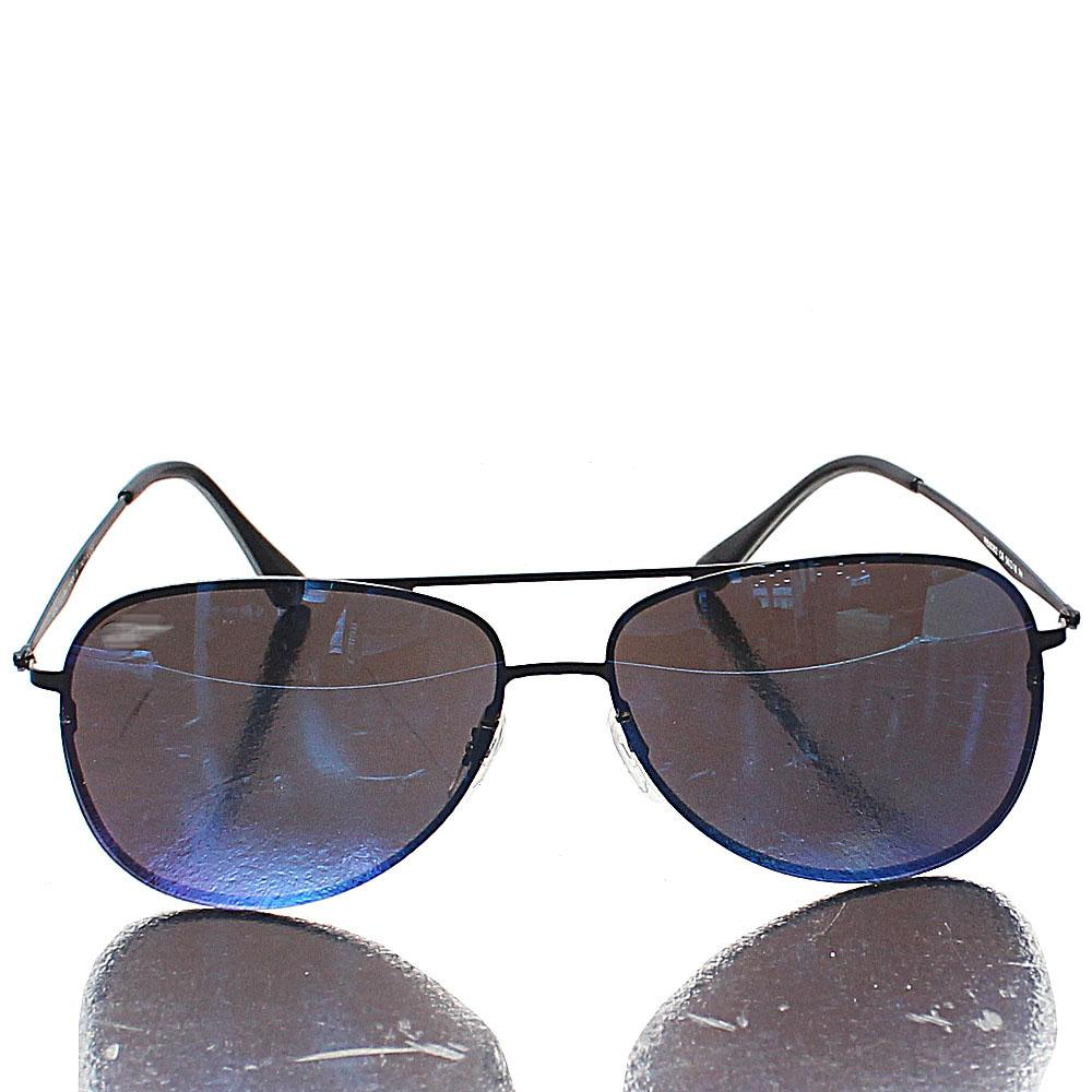 Black Aviator Blue Lens Sunglasses