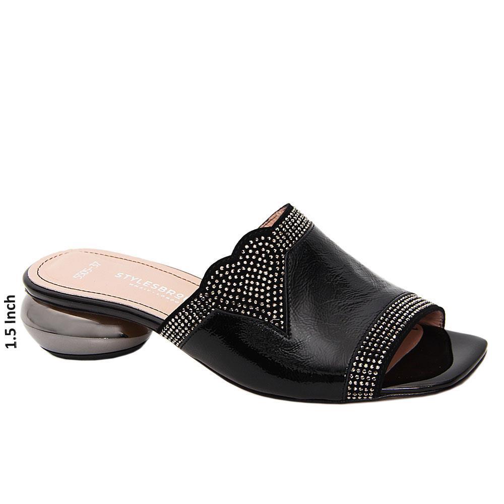 Black Amara Studded Tuscany Leather Low Heel Mule