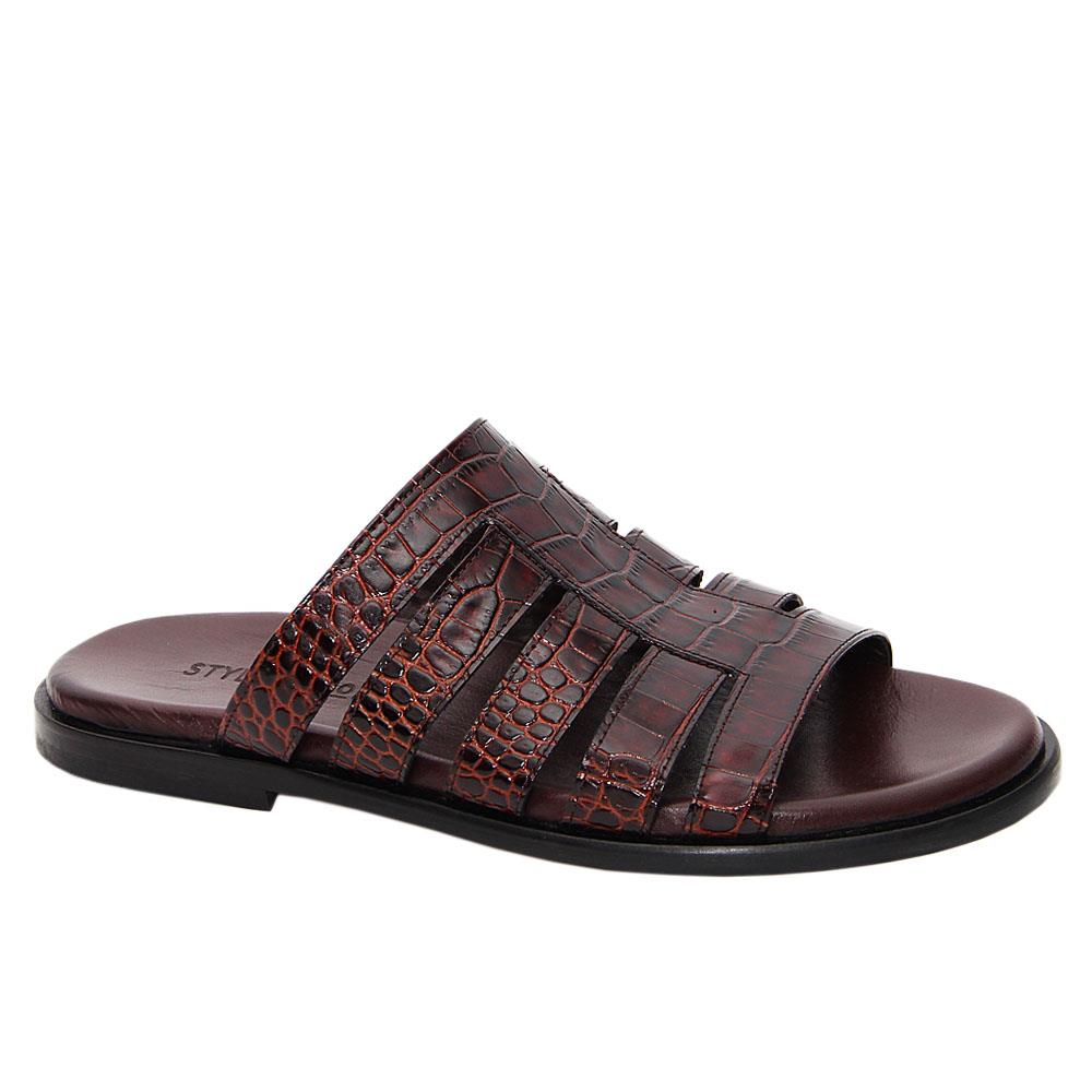 Coffee Ermanno Italian Leather Slippers