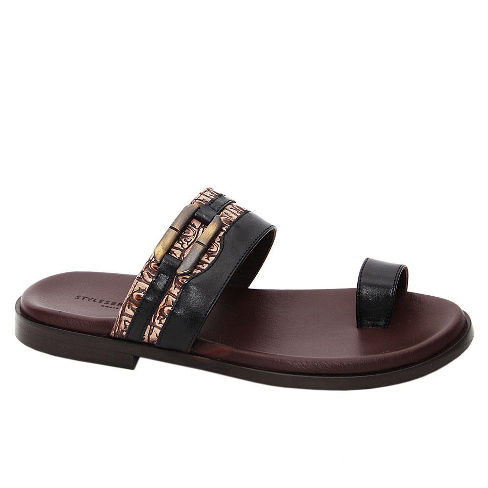 Brown Black Mattia Italian Leather Slippers