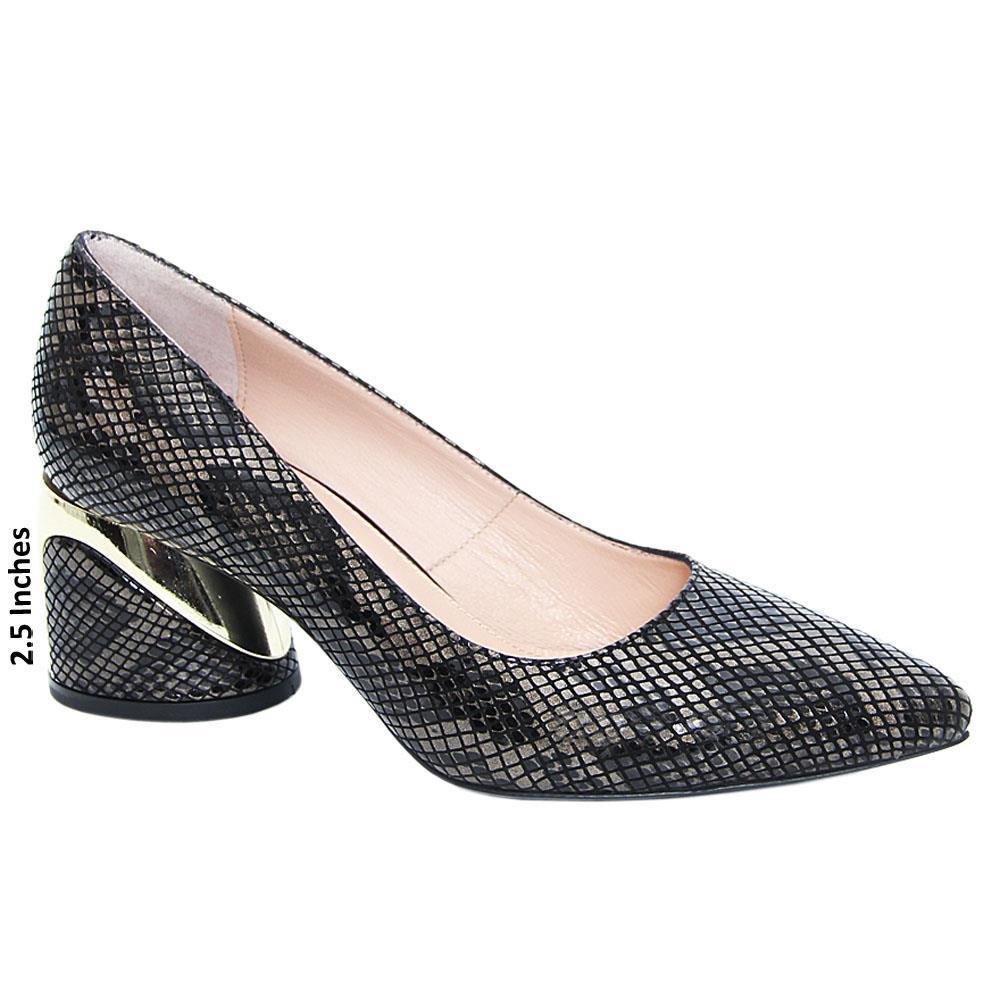 Black Gray Imelda Tuscany Leather Mid Heel Pumps
