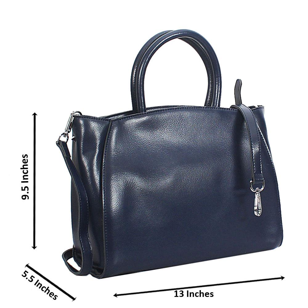 Navy Vero Leather Tote Handbag