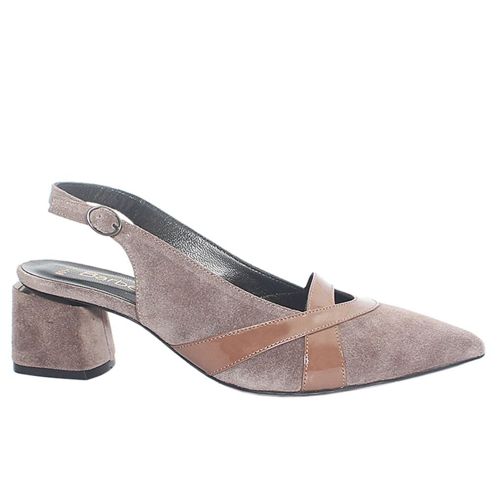 Grayish Brown Impluse Suede Leather Slingback Heel