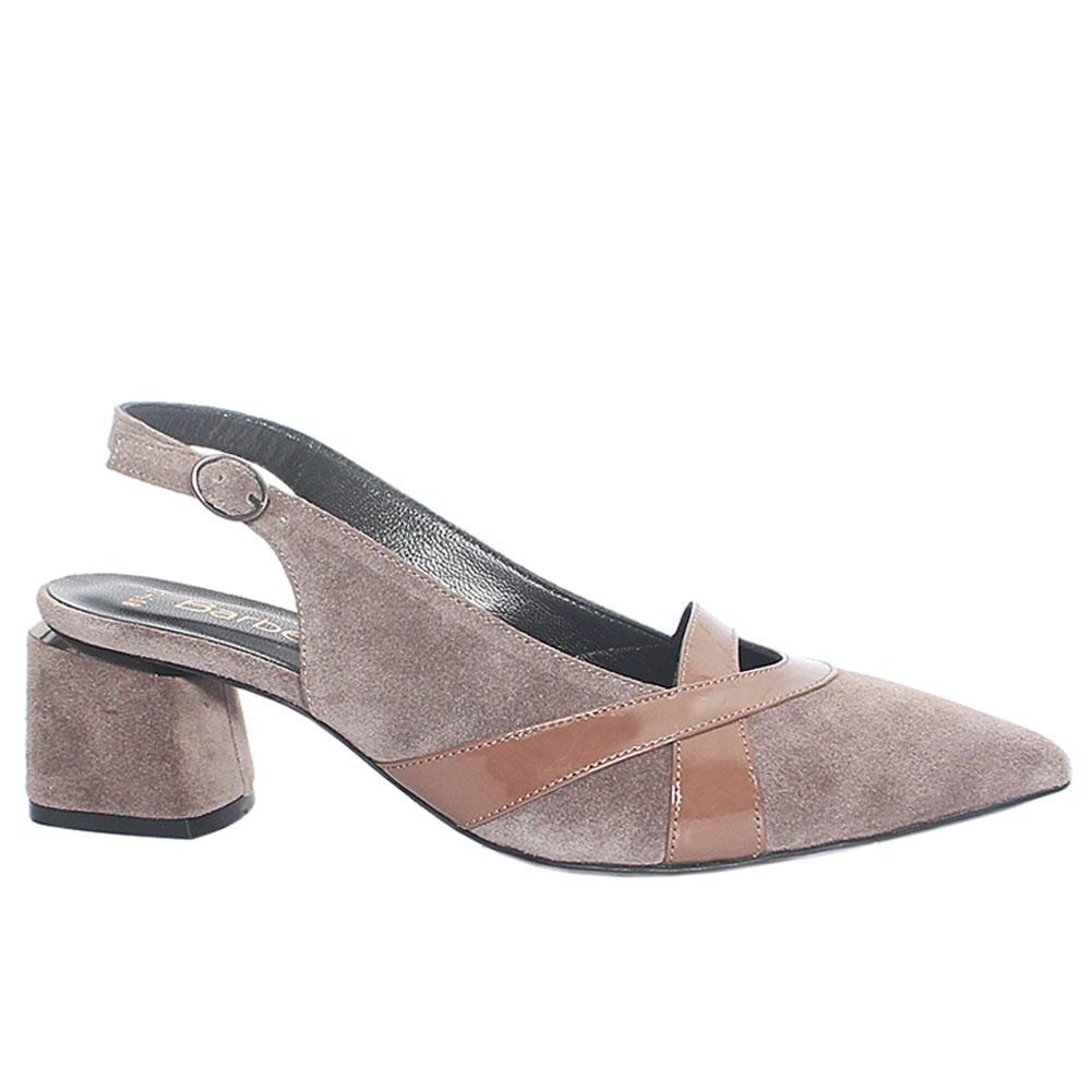 Grayish Brown Impluse Suede Leather Slingback Heel