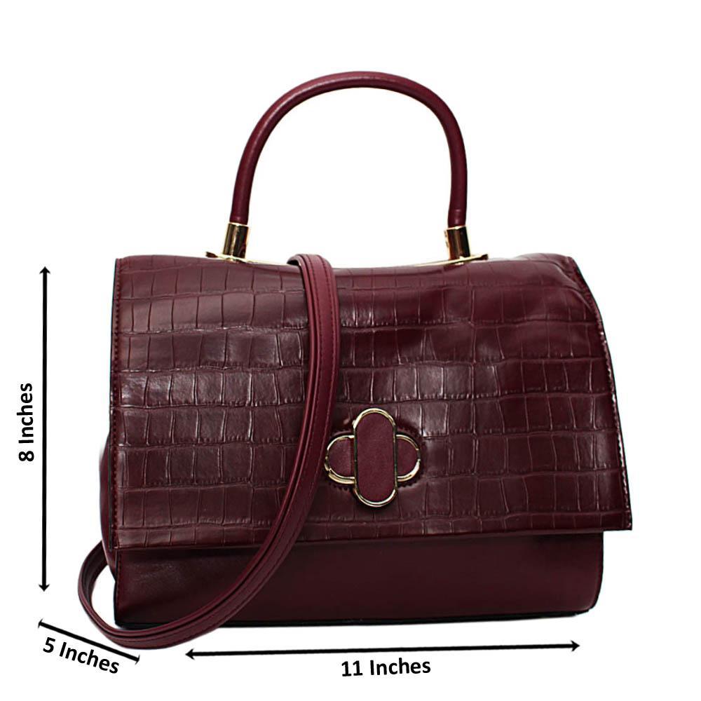 Burgundy Alyona Mix Croc Leather Medium Top Handle Handbag