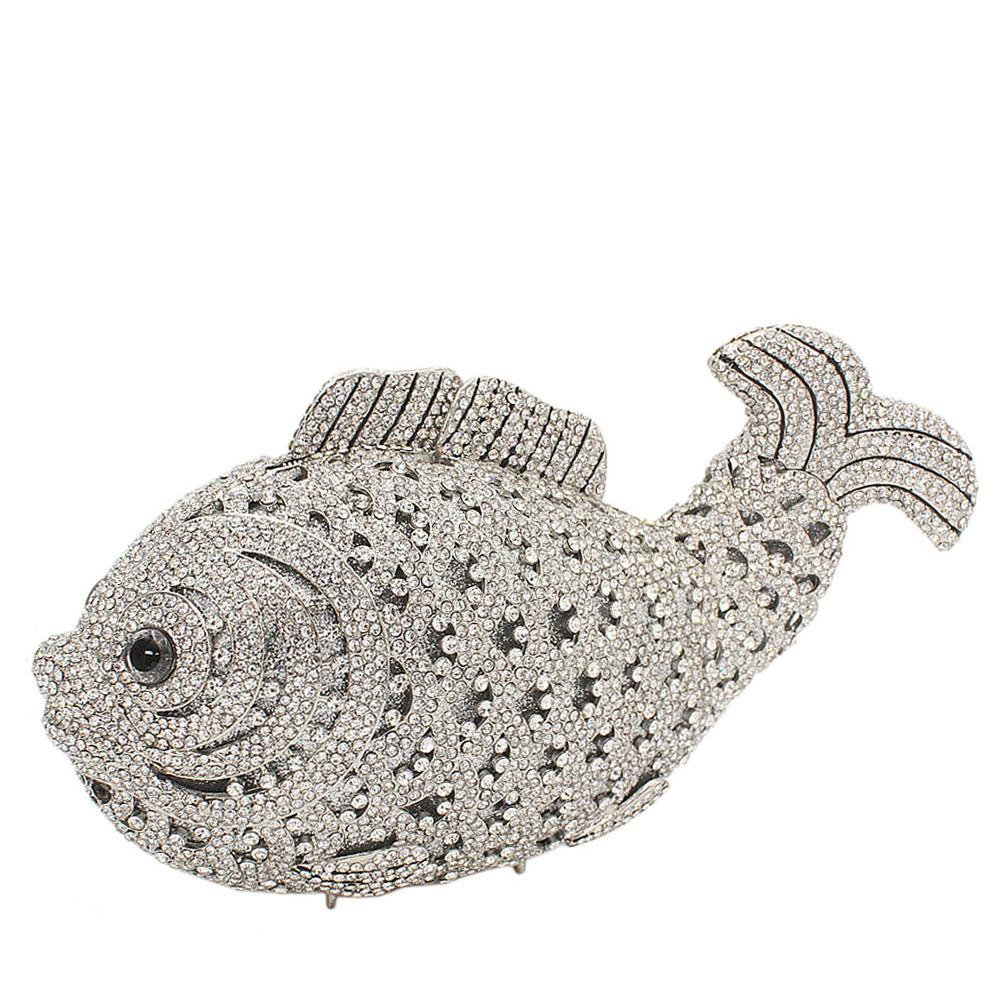 Silver Fish Diamante Crystals Clutch Purse
