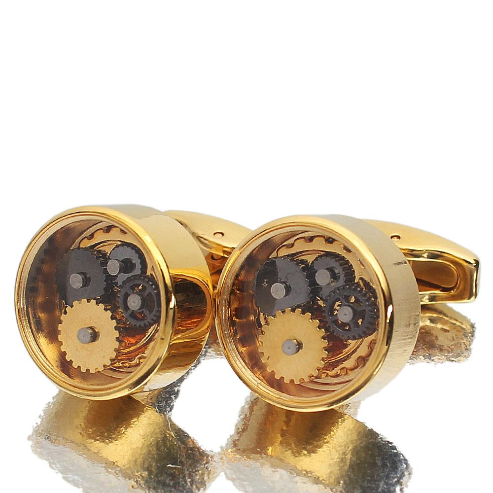 Platinum Gold Kinetic Styled Stainless Steel Cufflinks