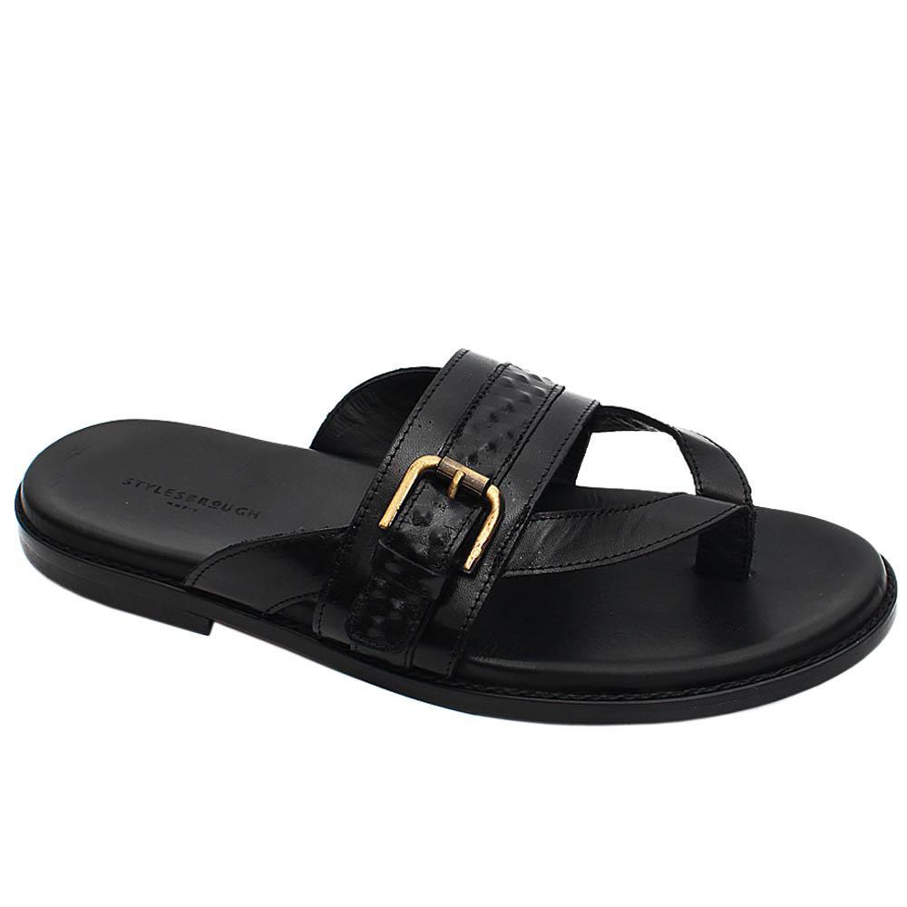 Black Dante Italian Leather Men Slippers