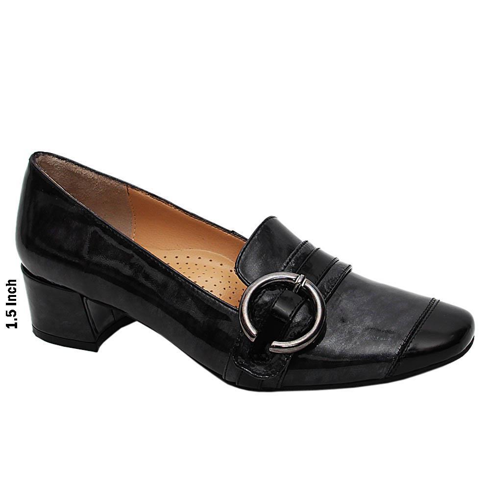 Grayish Black Zenaida Patent Italian Leather Mid Heel Pumps