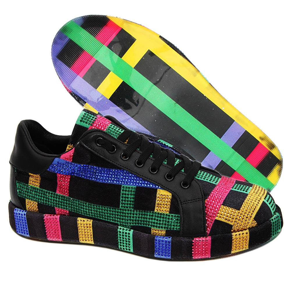 Black Kinsey Studded Velour Italian Leather Unisex Sneakers