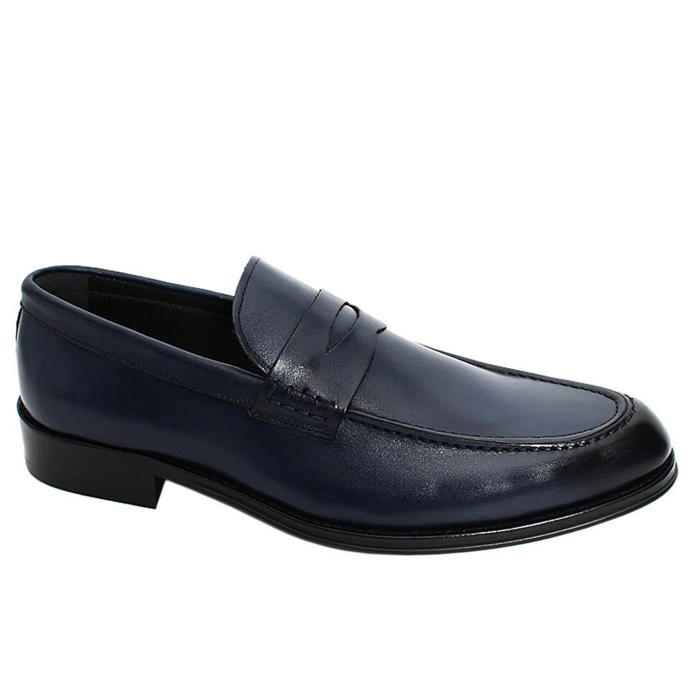 Navy Skyler Leather Men Penny Loafers