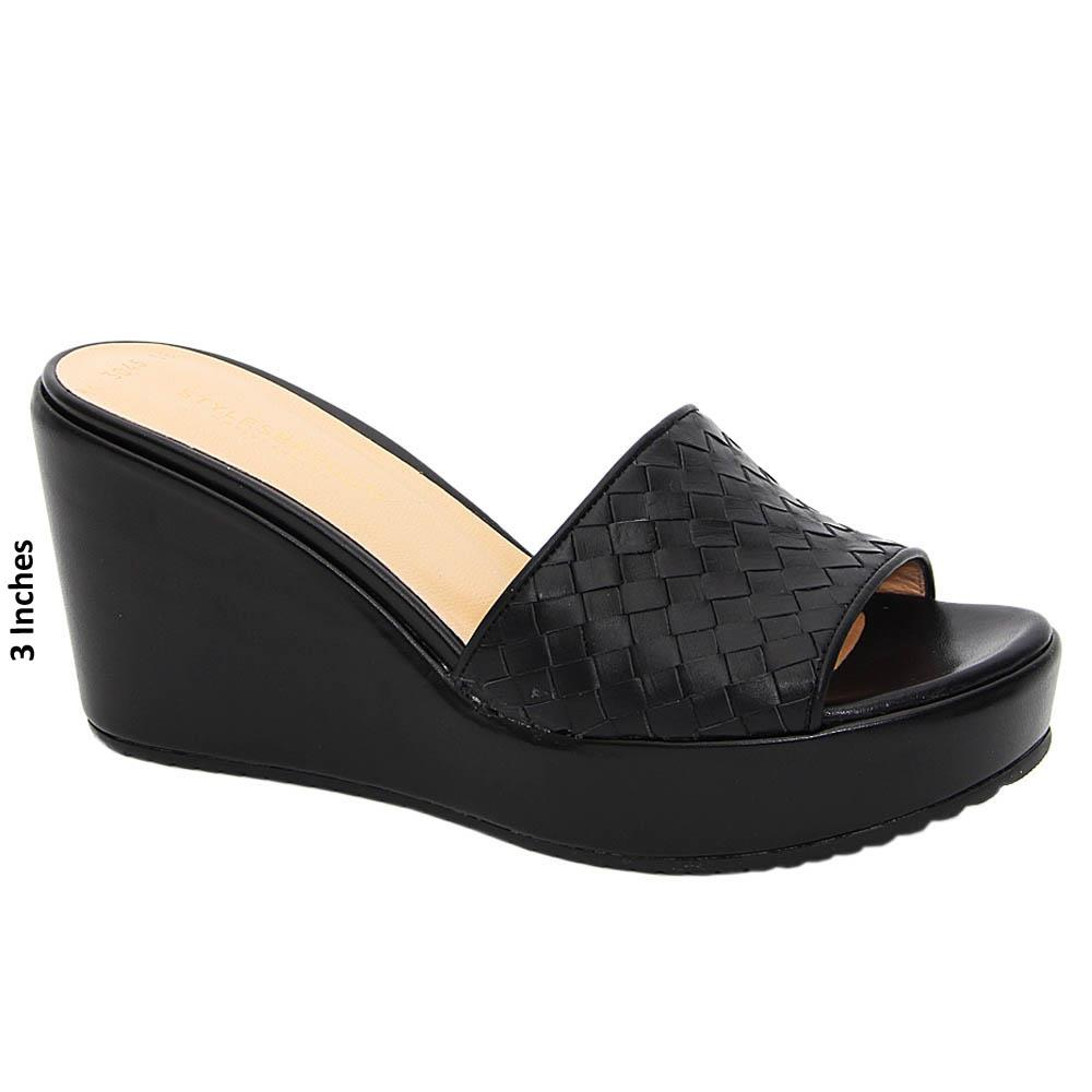 Black Alessia Woven Tuscany Leather Wedge