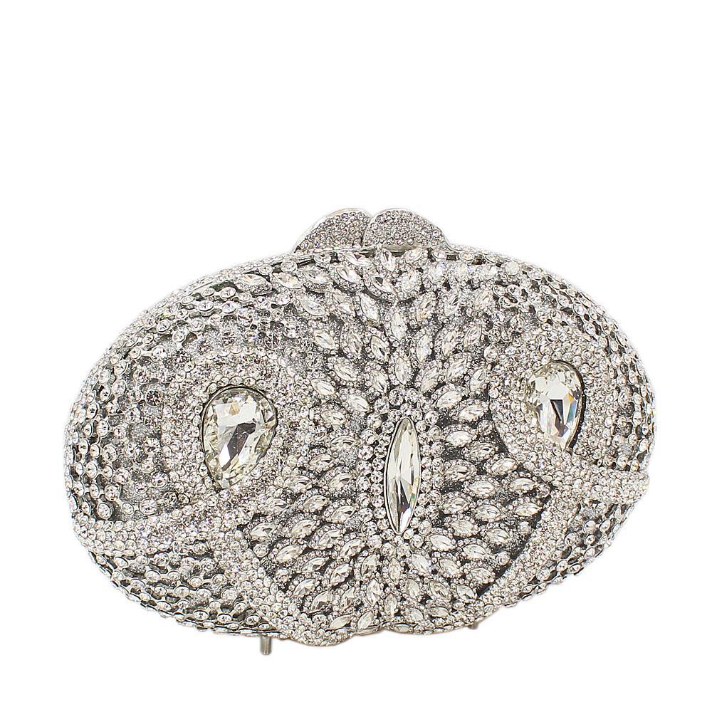 Silver Ice Diamante Crystals Clutch Purse