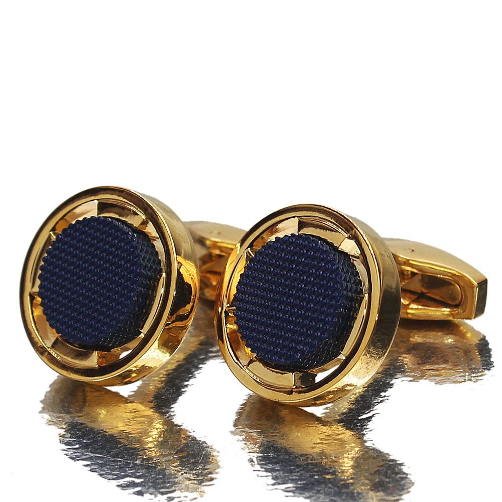 Gold Blue Rim Stainless Steel Cufflinks