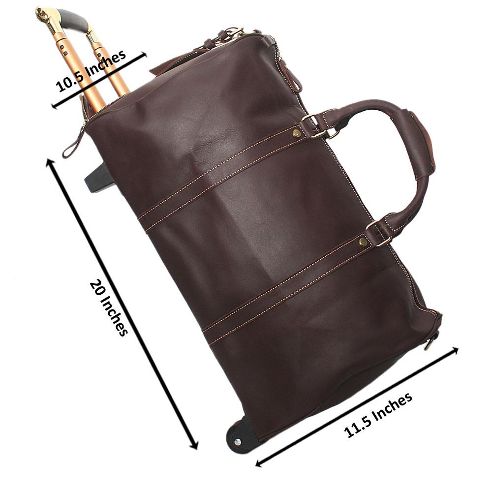 Mahogany Brown Soft Cowhide Leather Trolley Duffel Bag