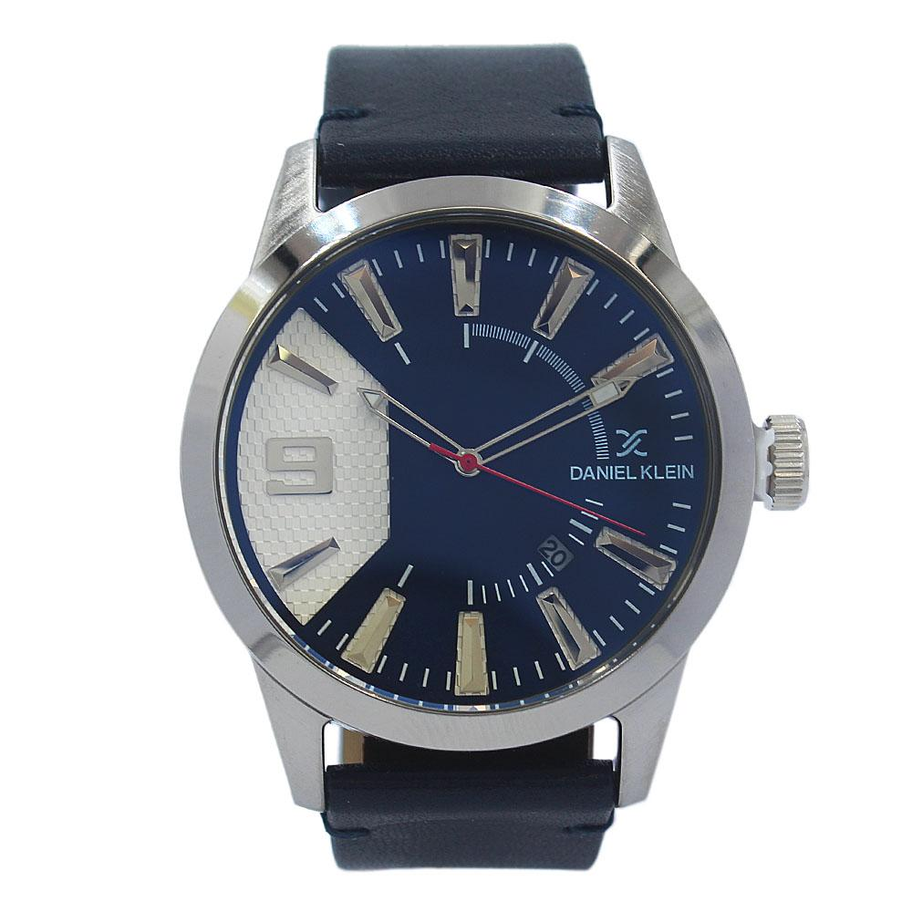 Daniel Klein Luis Silver Navy Leather Fashion Series Watch