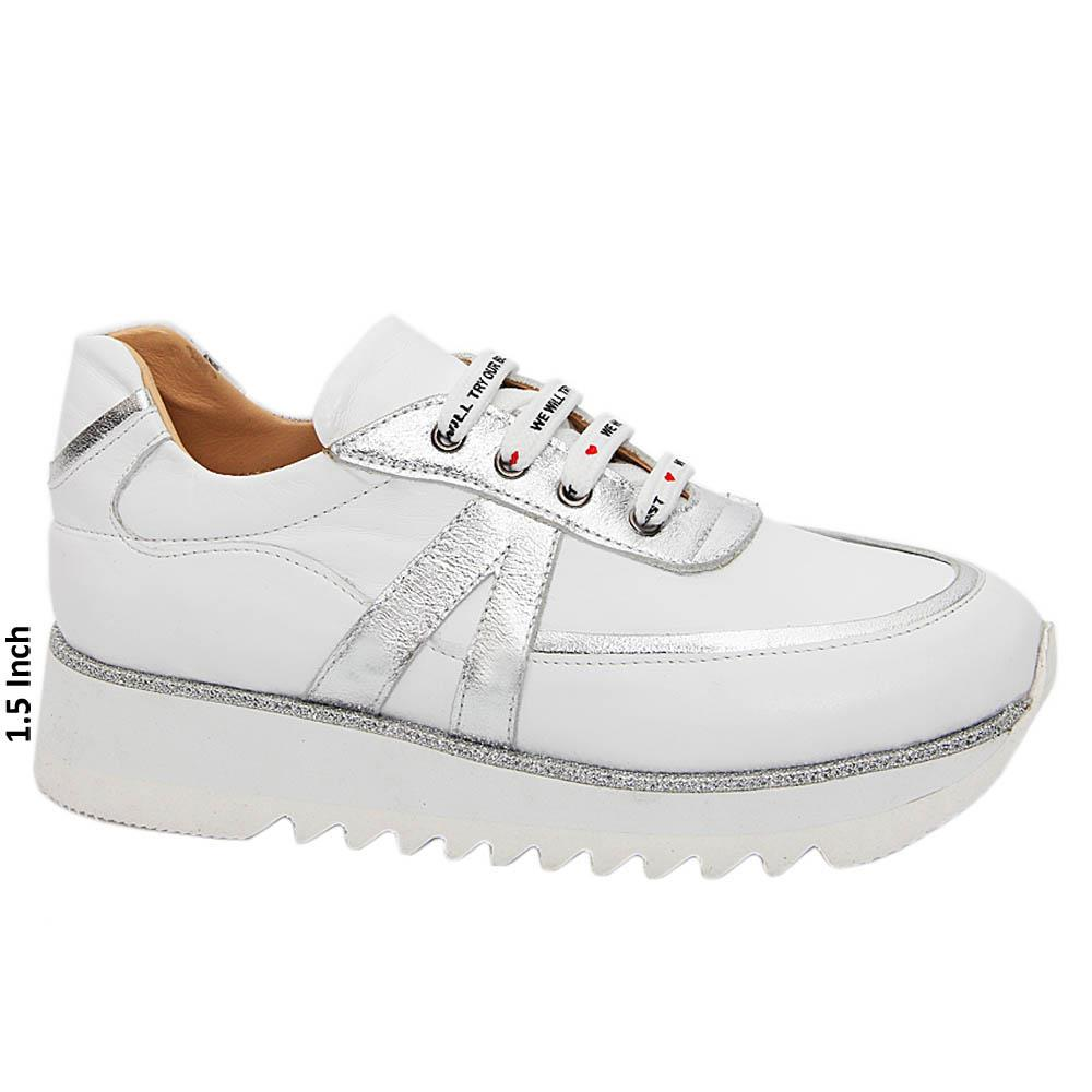 White Diana Ross Tuscany Leather Ladies Sneakers