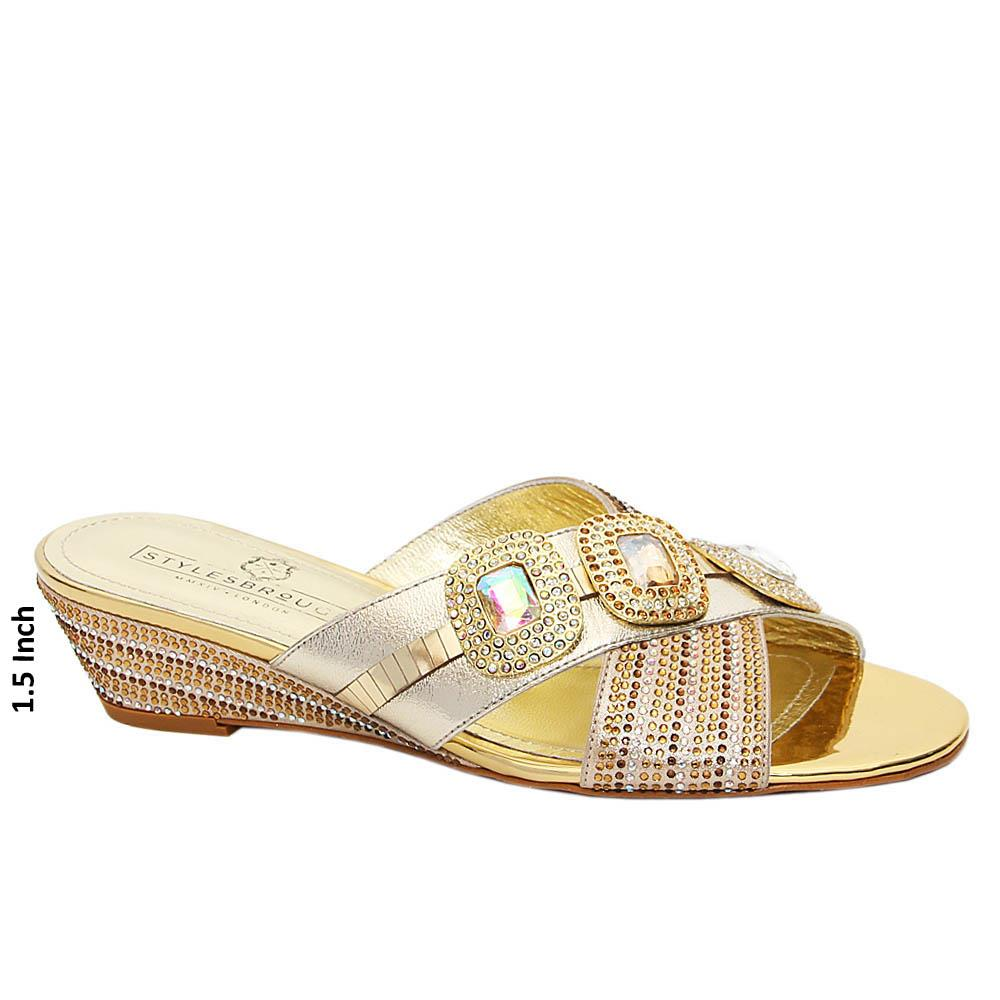 Gold-Tiffany-Studded-Italian-Leather-Low-Wedge