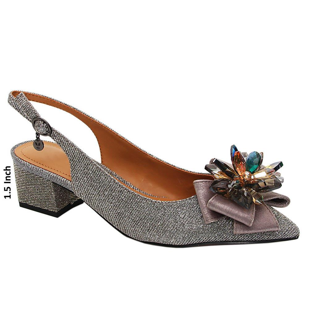 Silver Willow Glitters Leather Low Heel Slingback Pumps