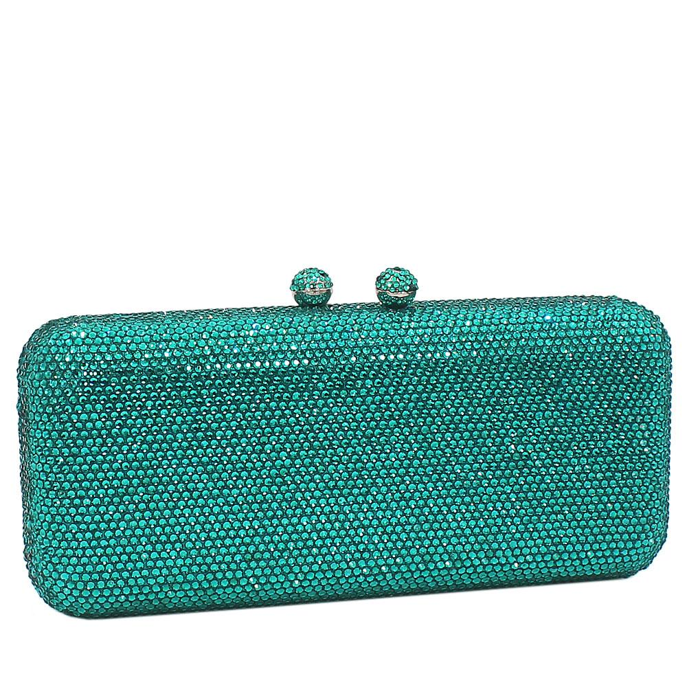Turquoise Green Crystals Studded Clutch Purse