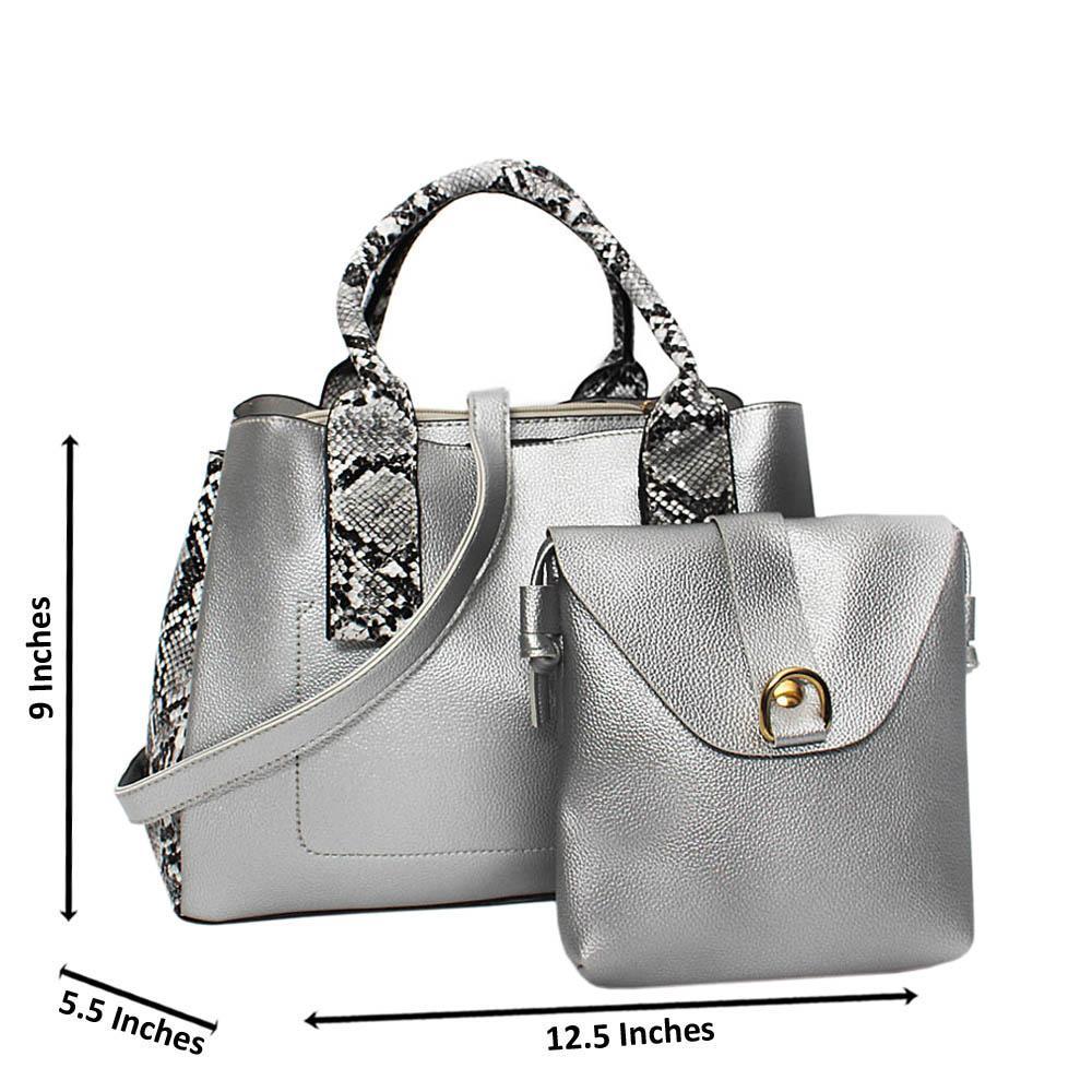 Silver Mix Snake Skin Leather Medium 2 in 1 Tote Handbag