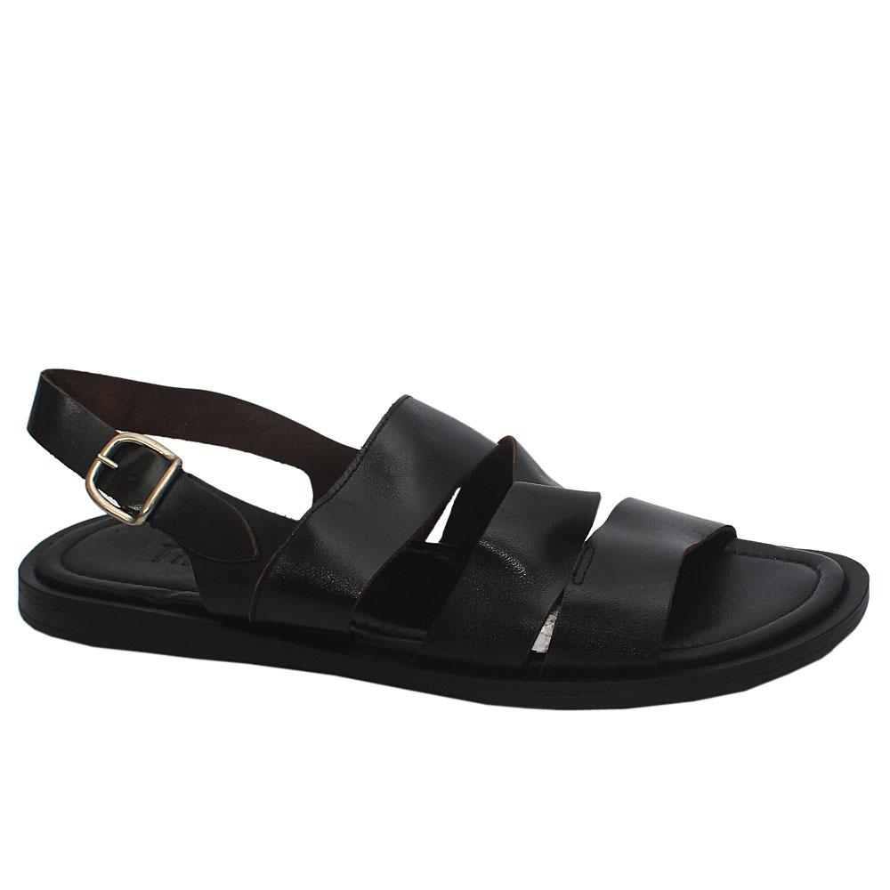 Pietro TRD Black Leather Men Sandals