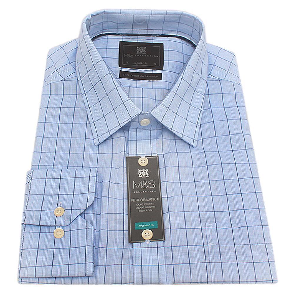 Blue Check Regular Fit L Sleeve Men Shirt Sz 14.5