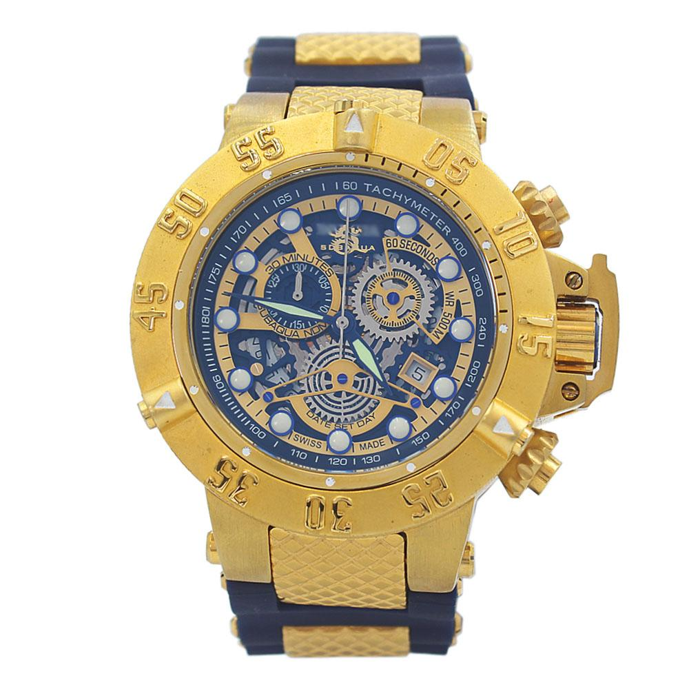 Gold Blue Rubber Strap Men Chronograph Watch
