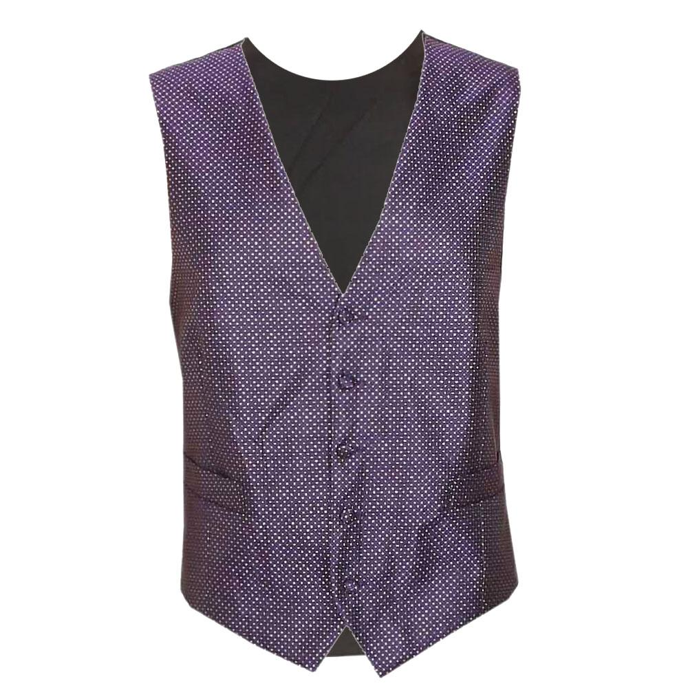 Purple Black Cotton Men Waistcoat L