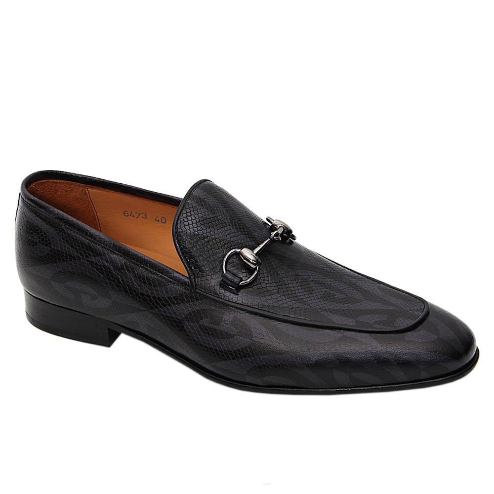 Black Gray Leonardo Italian Leather Loafers