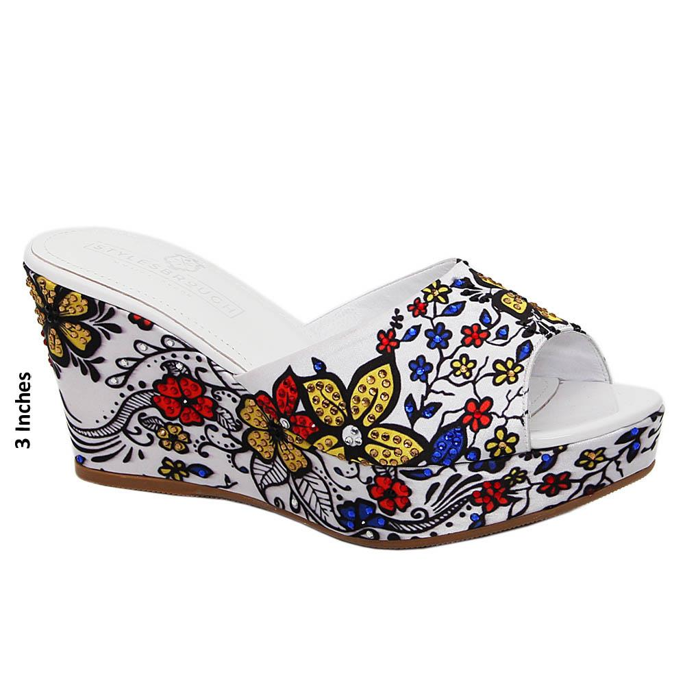 White Ruby Floral Print Studded Fabric Wedge
